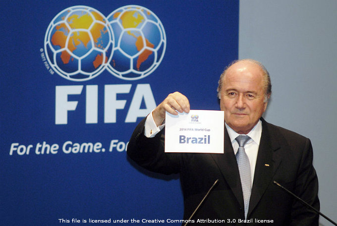 Joseph Blatter Displaying Brazil As Host For The FIFA World Cup 2014