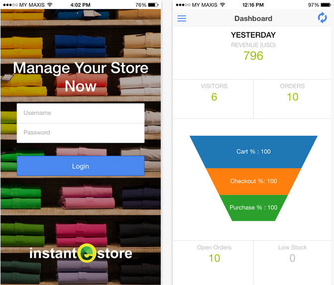 InstanteStore App Dashboard