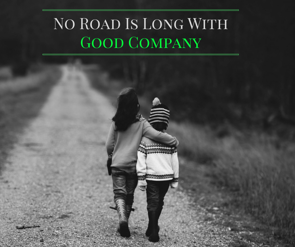 Turkish Quote Overlayed onto image of two children walking down a road together