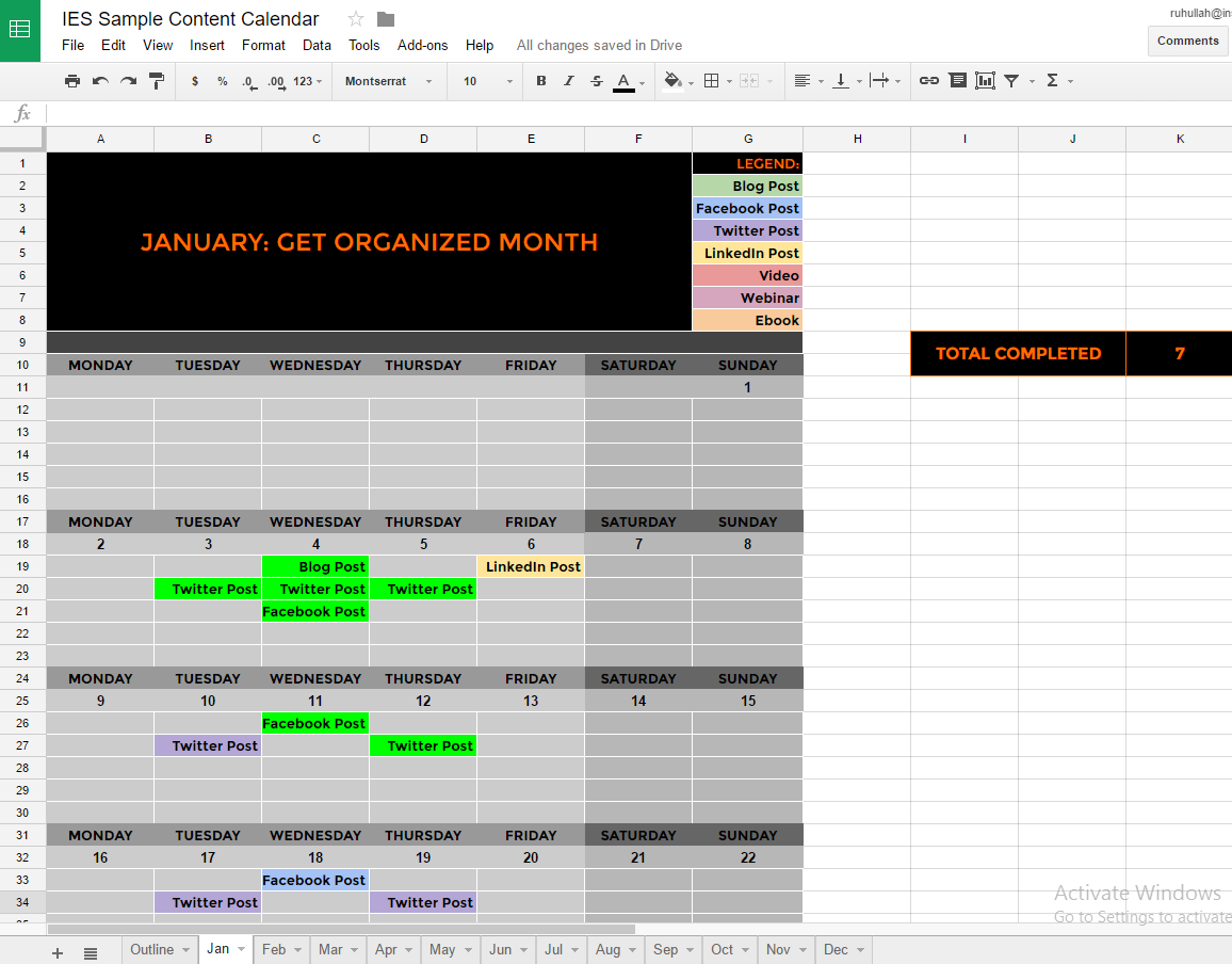 detailed monthly plan sheet