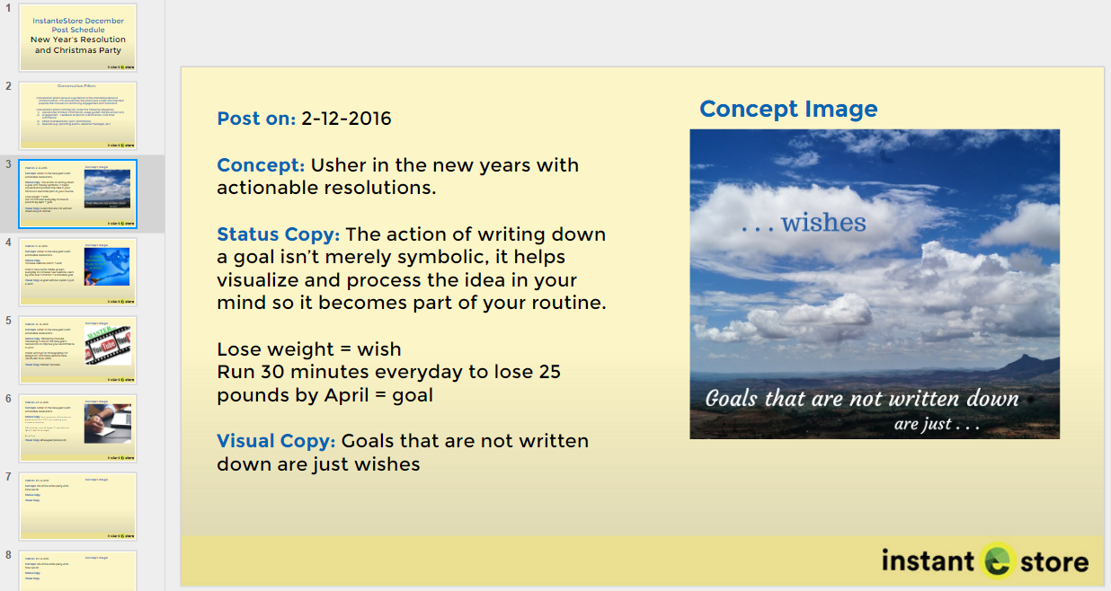 Google Slides used for content planning