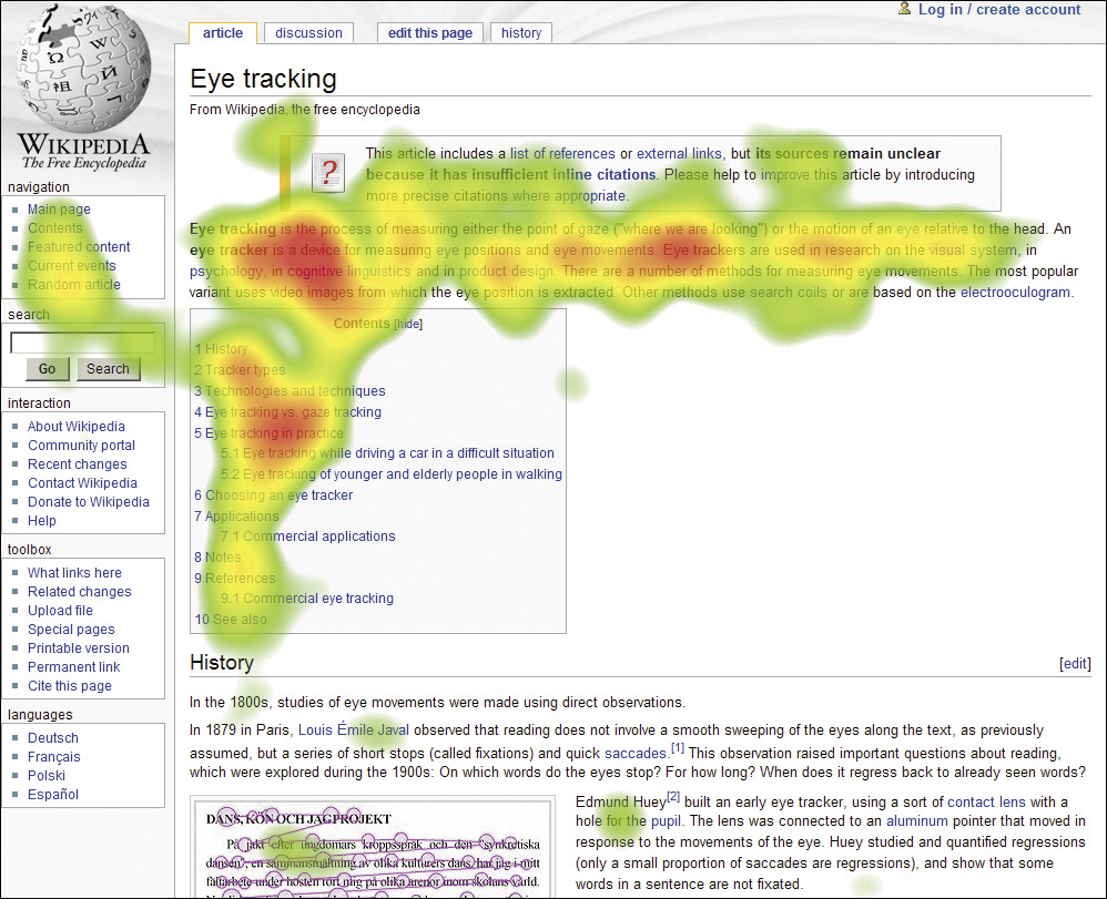 Wikipedia page being heatmap tracked