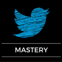 Twitter logo with mastery words underneath