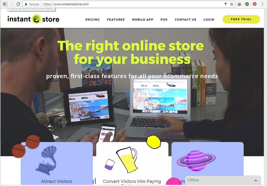 Instantestore web page