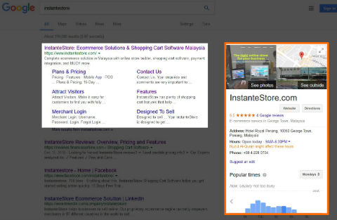 Google Search Results for InstanteStore